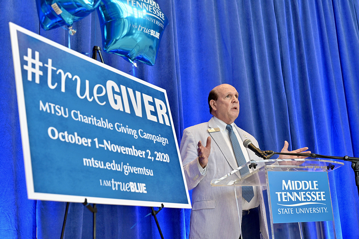 Dean David Urban of the Jennings A. Jones College of Business encourages colleagues to contribute during the kickoff of the 2020-21 MTSU Employee Charitable Giving Campaign held recently in the atrium of the Cope Administration Building. For seven straight years, the Jones College has captured the Provost Cup, a friendly competition between academic units that is awarded to the college with the highest percentage of employee participation. (MTSU photo by Andy Heidt)