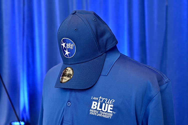 Contributors to the 2020-21 MTSU Employee Charitable Giving Campaign will be eligible to win giveaways of MTSU and True Blue apparel and gear such as these. (MTSU photo by Andy Heidt)