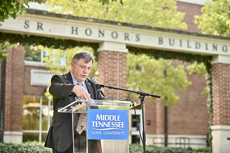 Dr. John Vile, dean of the University Honors College, reads a portion of the U.S. Constitution as part of MTSU's 2020 Constitution Day celebration. (MTSU photo by J. Intintoli)
