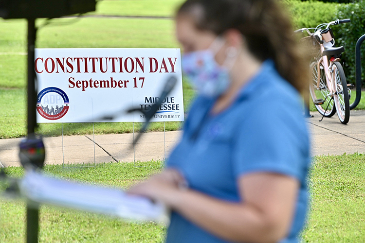 A student reads a segment of the U.S. Constitution as part of MTSU's 2020 celebration of Constitution Day. (MTSU photo by J. Intintoli)
