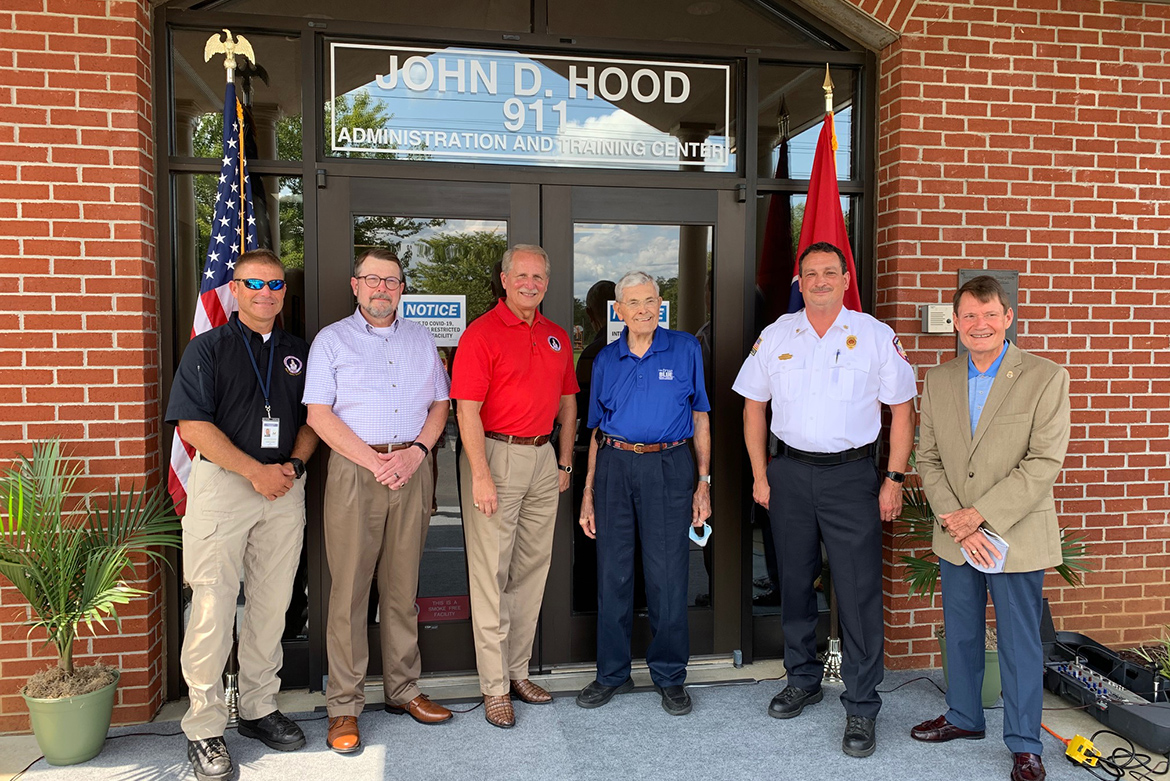 Pictured, from left, are Rutherford County Emergency Management Agency/Public Safety Director Chris Clark, Rutherford County Emergency Communications District Director Steve Smith, Rutherford County Mayor Bill Ketron, John D. Hood, Murfreesboro Fire Rescue Chief Mark Foulks, and retired Murfreesboro Police Department Chief Glenn Chrisman. The Rutherford County 911 center was named Friday in honor of Hood, the 911 Board's longest-serving member and treasurer and current director of government relations at MTSU. (Photo by Ashley McDonald/Rutherford County Mayor's Office)