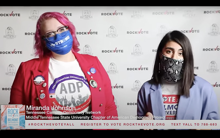 """Graduate studentMiranda Johnsonof MTSU'sAmerican Democracy Project, left, joins Belmont University student Kate Cosentino on the """"Rock the Vote at Belmont University: Nashville Colleges Celebrate Democracy,"""" which aired Sept. 22, to discuss the importance of making a plan to vote in the Nov. 3 elections. (image from YouTube)"""