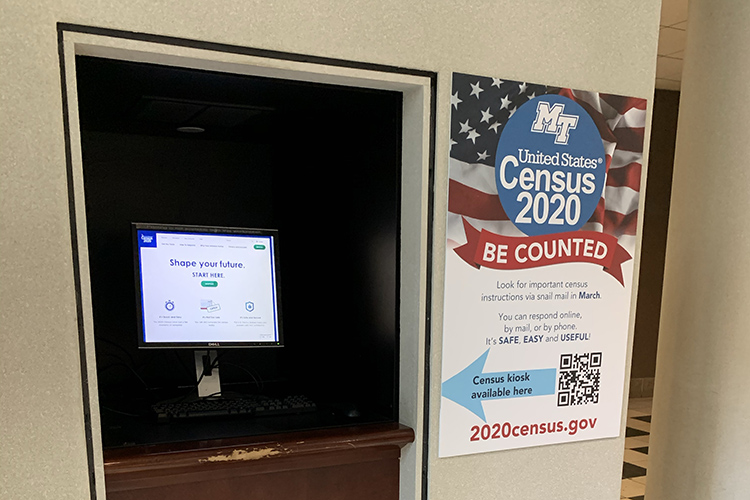 This special kiosk on the first floor of the James E. Walker Library is available for anyone still needing to fill out the 2020 Census questionnaire. (Submitted photo)
