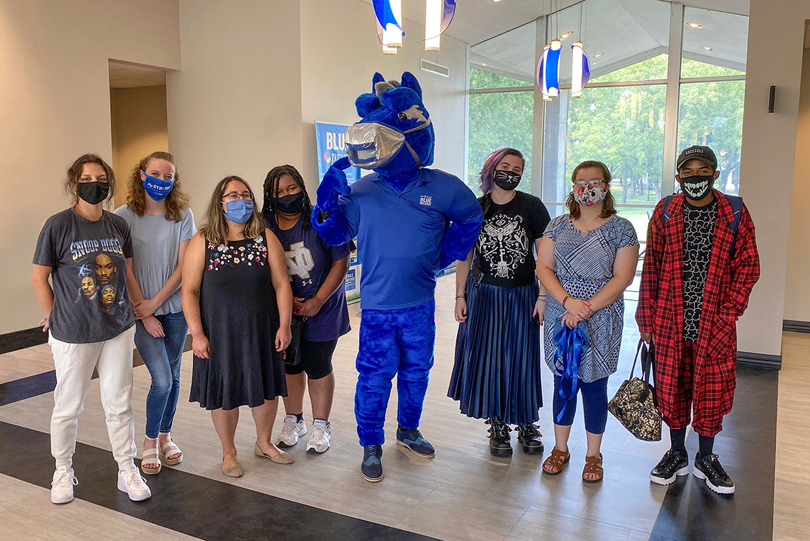 The College of Behavioral and Health Sciences student design team for Lightning's masks included, from left, Jessica Rush, Clare Manning, Andi Smith, Diamond Williams, Cecil Curlee, Nora Chisamore and Ari Johnson. (MTSU photo by David Foster)