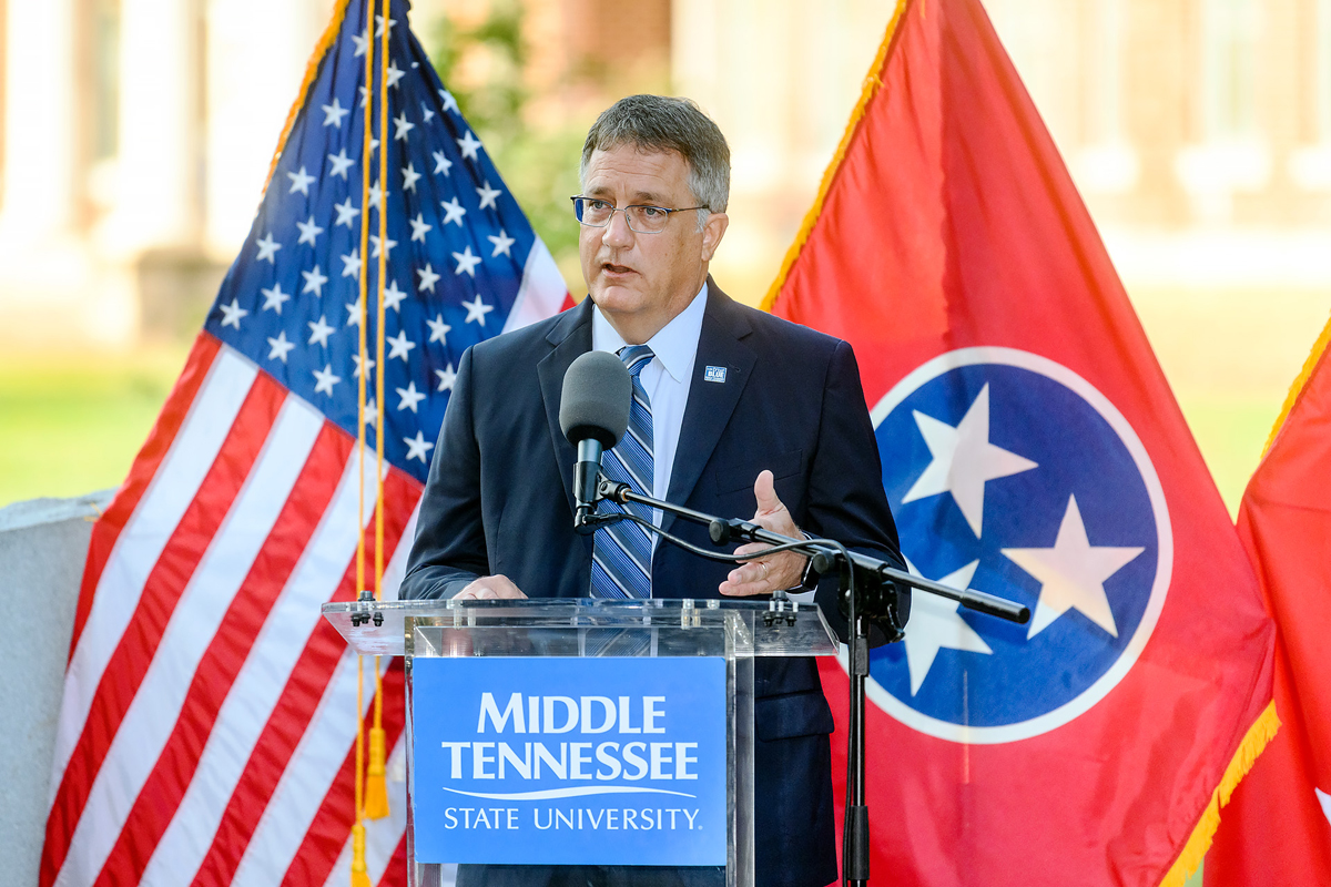 """MTSU Provost Mark Byrnes recalled teaching a """"politics and film"""" night class in Peck Hall on Sept. 11, 2001. They watched """"Mrs. Miniver,"""" a 1942 U.S.-produced war film. """"The lessons from that movie are that politics matters, perseverance and the critical role of service to others and sacrifice,"""" he said. (MTSU photo by J. Intintoli)"""