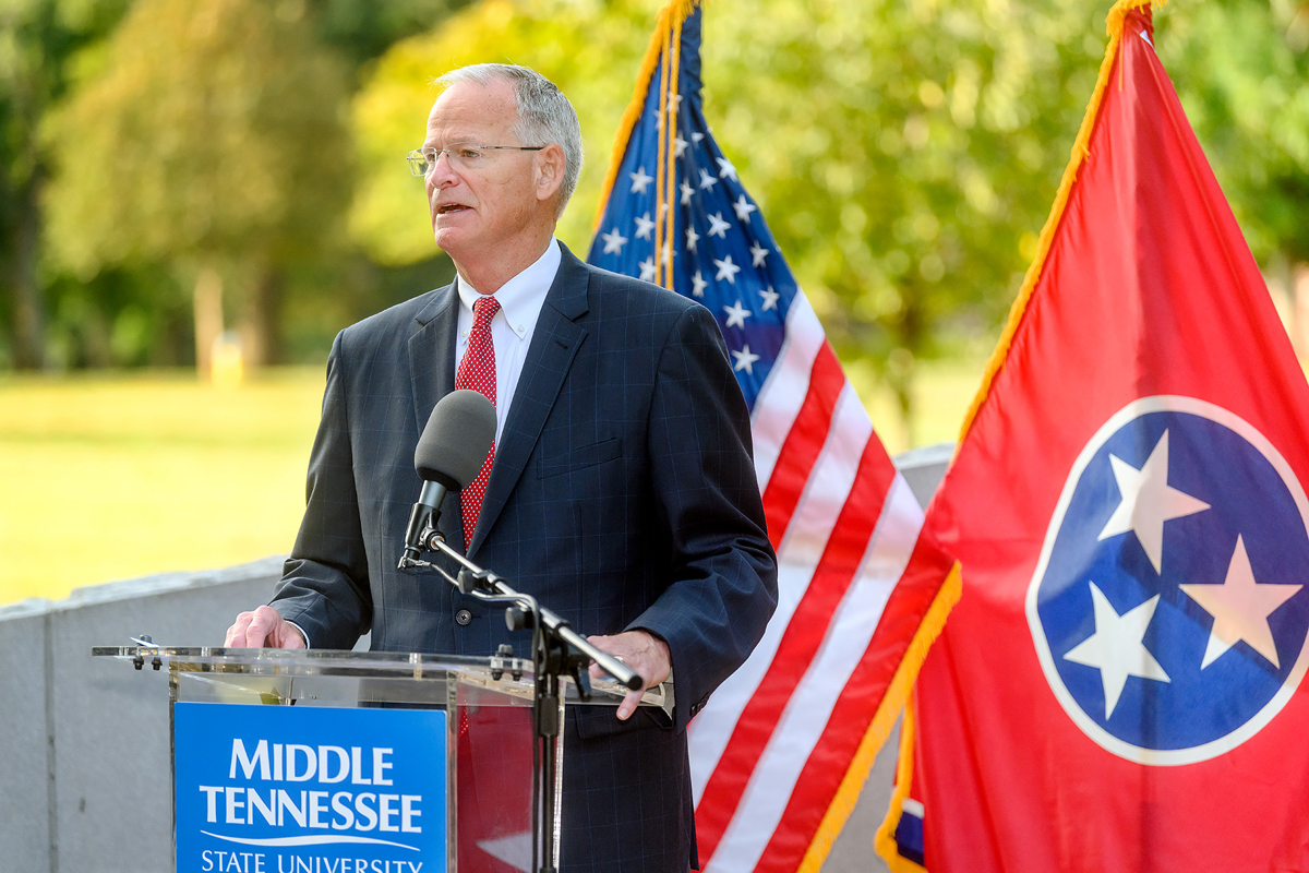 """MTSU 9/11 Remembrance guest speaker Doug Kreulen recalls details of being in the Pentagon on Sept 11, 2001. The decorated and retired U.S. Air Force colonel told the audience, viewing virtually, to """"continue investing in your employees, planning for the future and be prepared for what life has in store for us."""" He is president and CEO of the Metropolitan Nashville Airport Authority. (MTSU photo by J. Intintoli)"""