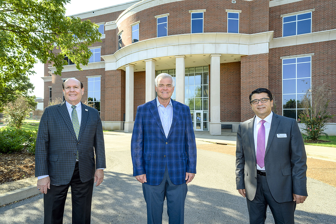 From left, Dr. David Urban, dean of the Jones College of Business at MTSU; Jim Tracy, Tennessee state director of USDA Rural Development; and Dr. Murat Arik, director of the Business and Economic Research Center at MTSU, meet on Sept. 21, 2020, outside the Business and Aerospace Building to discuss a new project partnership between the USDA and the BERC to help distressed communities. (MTSU photo by J. Intintoli)