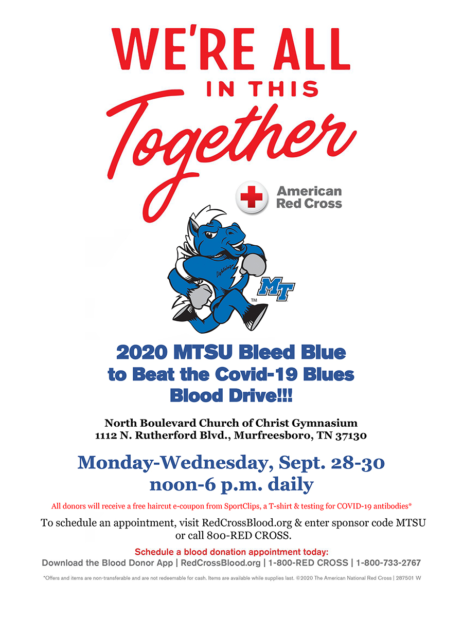 "MTSU ""Bleed Blue"" 2020 blood drive poster"