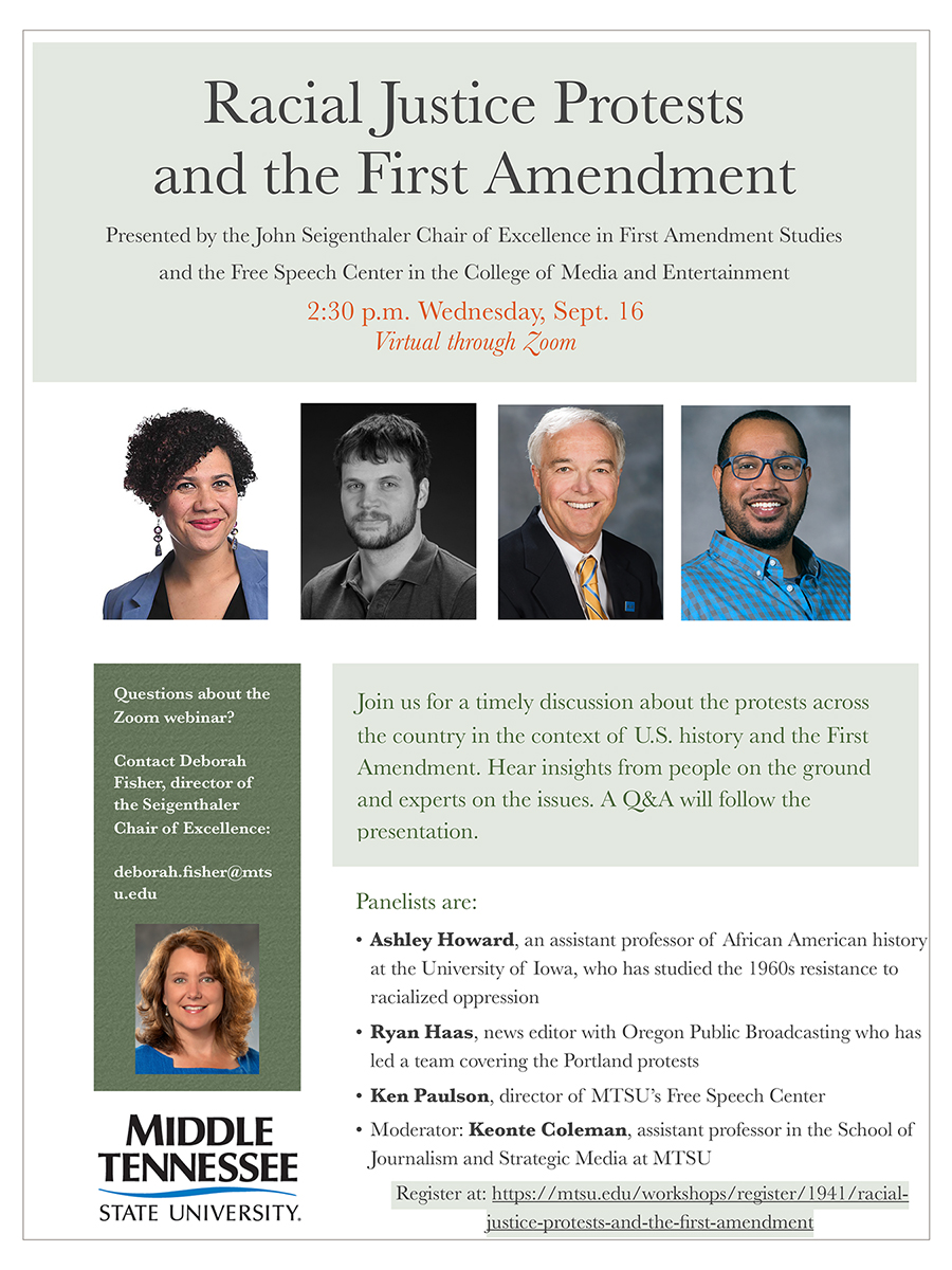 "poster for MTSU's ""Racial Justice Protests and the First Amendment"" virtual panel discussion Wednesday, Sept. 16."