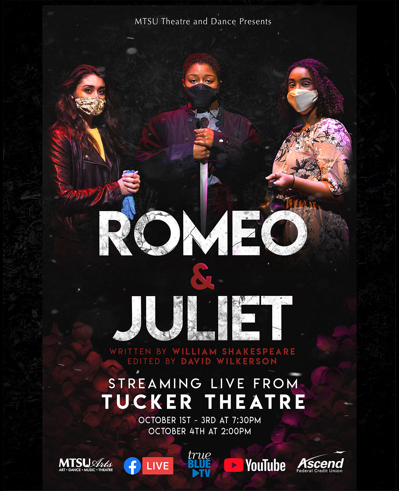 "MTSU Theatre performers are ready for the university's Oct. 1-4 production of William Shakespeare's ""Romeo and Juliet,"" which will air live at MTSU.edu/live, the True Blue TV channel and the MTSU and MTSU Theatre Facebook Live sites. Cast members shown from left are MTSU senior Alexa Pulley of Cunningham, Tenn., who portrays Romeo; sophomore Zoe Jones of Antioch, Tenn., who portrays Friar Laurence; and senior Katlyn Marion of Murfreesboro, who portrays Juliet. (MTSU Theatre poster)"