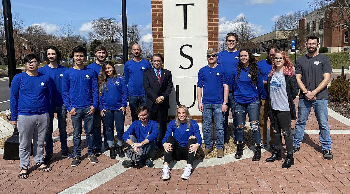 Before the 2020 NASA Human Explorer Rover Challenge was canceled, MTSU Team No. 2 members gather in February near the campus entrance for a group photo. They received the American Institute of Aeronautics and Astronautics Neil Armstrong Best Design Award in the university division for the second time since 2014. (Submitted photo)