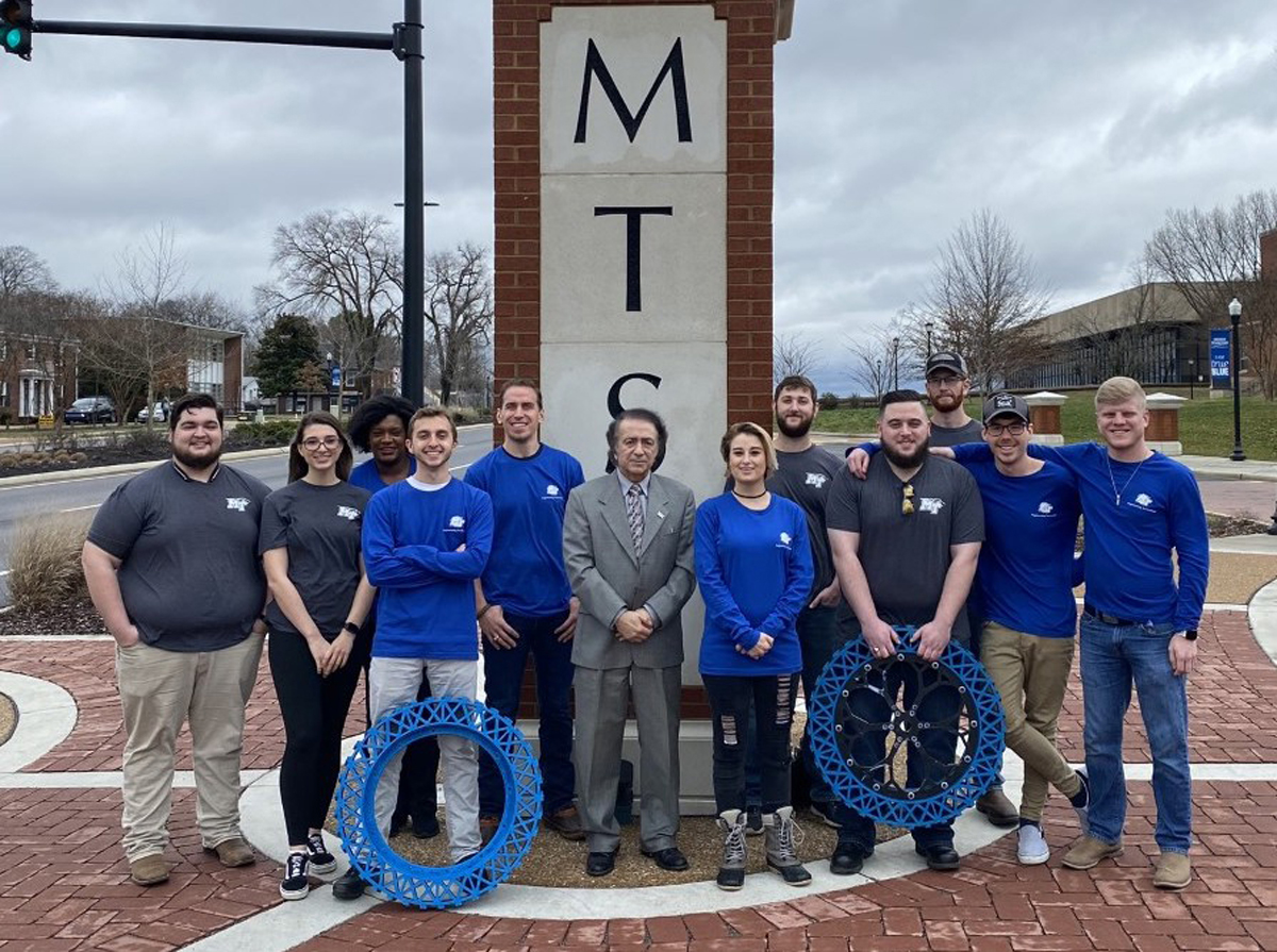Members of MTSU's lunar rover Team No. 1 gather for a group photo in February. Because of the popularity of the successful Experimental Vehicles Program, MTSU usually fields two lunar rover teams for the international competition. (Submitted photo)