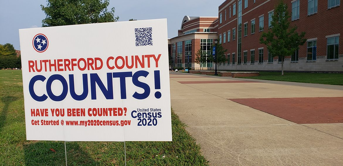 Rutherford County Counts! census signs posted around campus contain a QR code that will direct students to the Census 2020 online questionnaire for completion. The deadline to participate in the 2020 Census is Sept. 30. (MTSU photo)