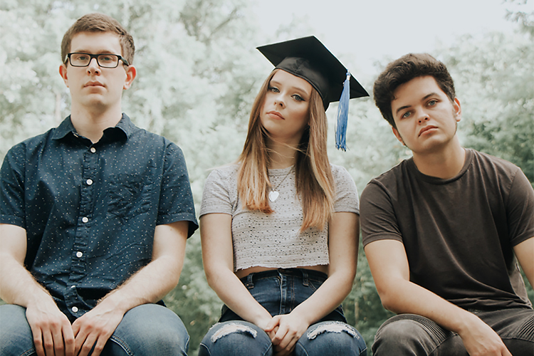 """Members of Shelter Cove, an indie rock/pop band of MTSU students and alumni who perform on the university's student-run label, Match Records, are shown in this publicity photo. From left are are drummer and senior astronomy major Ethan Forrest of Nolensville, Tennessee; vocalist and May 2020 commercial songwriting graduate Abbie Garrett of Hendersonville, Tennessee; and guitarist and senior philosophy major Andy Modaff, a Lisle, Illinois, native who now lives in Smyrna, Tennessee. The group is performing with four other Nashville-area artists Tuesday, Sept. 22, in """"Rock the Vote at Belmont University: Nashville Colleges Celebrate Democracy,"""" a nationwide National Voter Registration Day virtual event to get Americans registered and ready to vote in the Nov. 3 elections. (photo submitted)"""