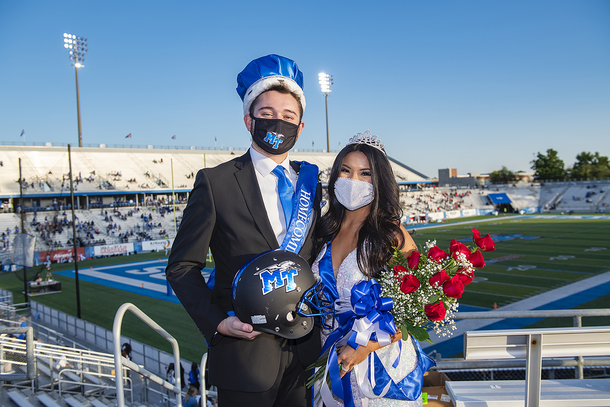 MTSU 2020 Homecoming King Andrew Carpenter and Queen Micah Pruitt were crowned during halftime of the Homecoming Game. (MTSU photo by Andy Heidt)