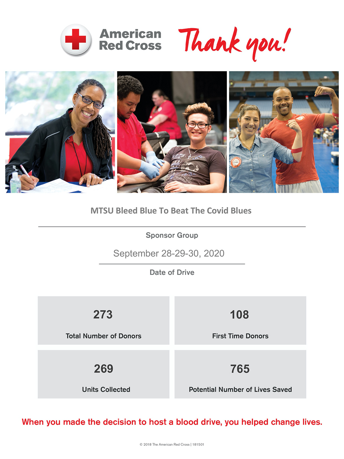 """image of American Red Cross """"Bleed Blue 2020"""" drive summary poster"""