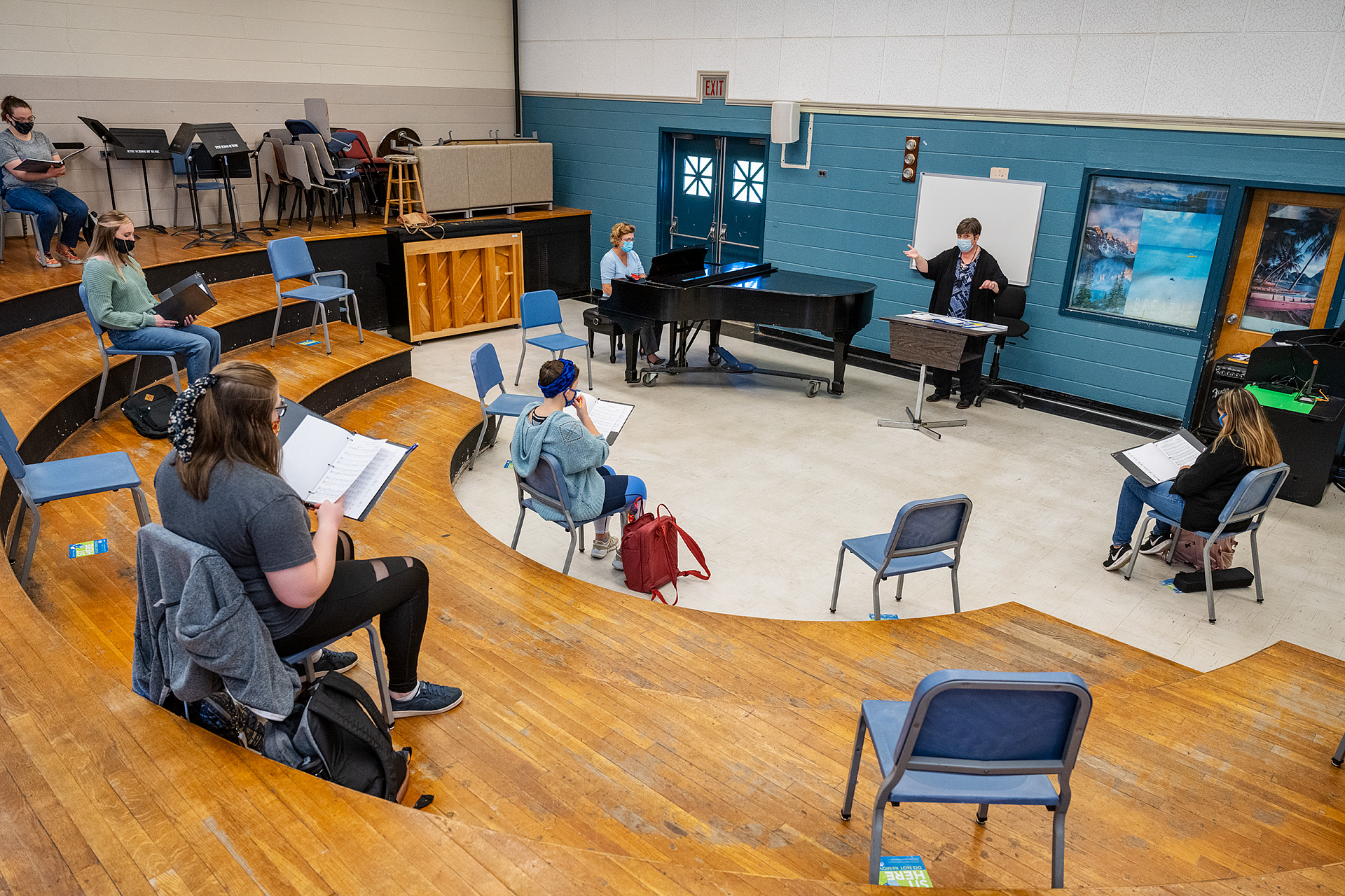 Angela Tipps, Instructor in the School of Music, is happy to have her students singing this semester. (Photo: Andy Heidt)