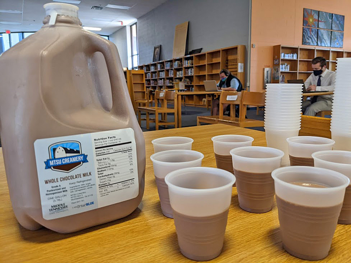 For a special treat, students in the Blackman Collegiate Academy enjoyed chocolate milk from the MTSU School of Agriculture Creamery on campus. BCA students took part in the virtual BCA Day at MTSU because COVID-19 prevented them from coming to campus in person. (Submitted photo by Blackman High School)