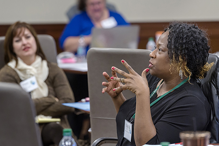 This 2018 file photo shows a Foundation for Teaching Economics workshop held in the Jones College of Business Executive Education Center inside the Miller Education Center on Bell Street. (MTSU file photo by Andy Heidt)