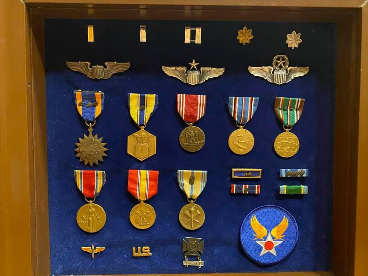 A wooden case holds the medals earned by Jacob R. McClenny of Murfreesboro for his exploits as a U.S. Air Force pilot of a B-17 bomber. The retired lieutenant colonel, who recently celebrated his 100th birthday, made 23 successful bombing missions across Germany during World War II. (Submitted photo)