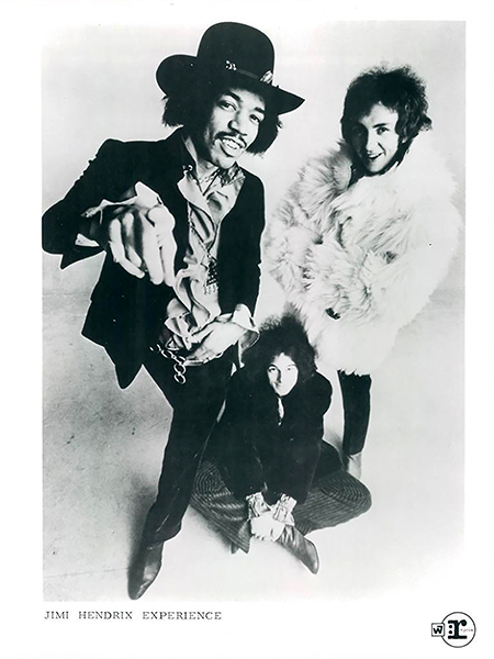 """Rock legend Jimi Hendrix, at left, poses with his Jimi Hendrix Experience bandmates Mitch Mitchell, right, and Noel Redding, seated, in this circa 1966-70 publicity photo from Reprise Records. Hendrix is the subject of """"Jimi Hendrix: A-Z,"""" a conversation between two music historians recorded by the Center for Popular Music at MTSU and available free on its website, http;//mtsu.edu/popmusic, beginning Wednesday, Oct. 21. (photo submitted)"""