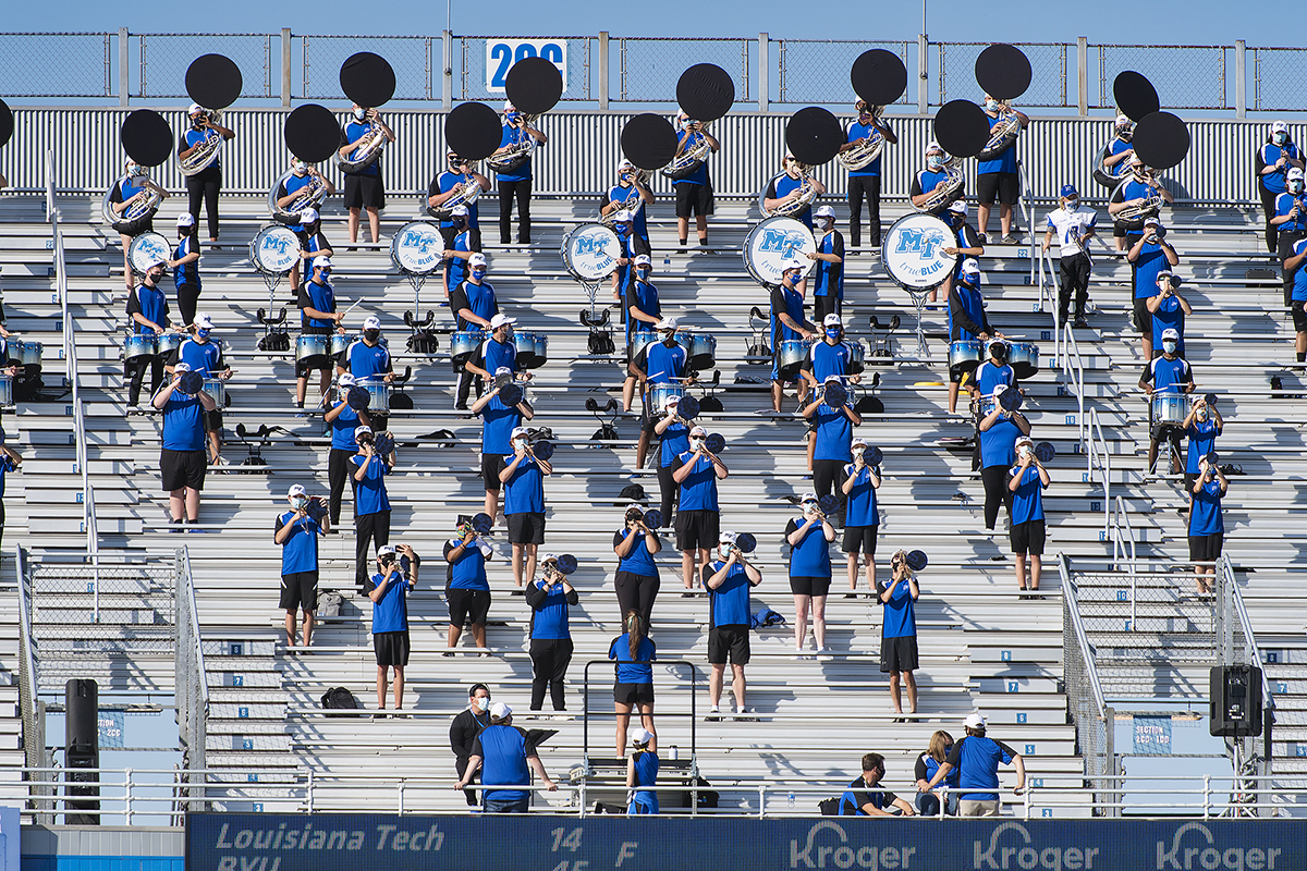Because of COVID-19, socially distanced members of the MTSU Band of Blue perform a song during the first half of the 2020 Homecoming Game Saturday, Oct. 3, in Floyd Stadium. MTSU, which led 10-3 at one point, lost 20-17 to Conference USA rival Western Kentucky. (MTSU photo by Andy Heidt)