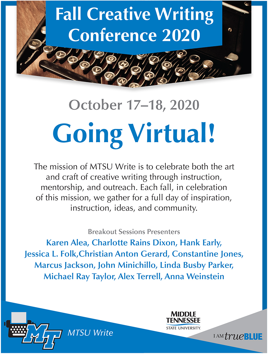 first program page for the Fall Creative Writing Conference 2020, sponsored by MTSU Write and set online Oct. 17-18