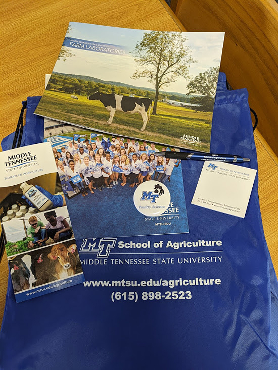 Blackman Collegiate Academy students received a packet of materials from the MTSU School of Agriculture as part of the virtual BCA Day at MTSU on Tuesday. Sept. 29. Agriculture was one of a number of disciplines Blackman students had available to them. (Submitted photo by Blackman High School)