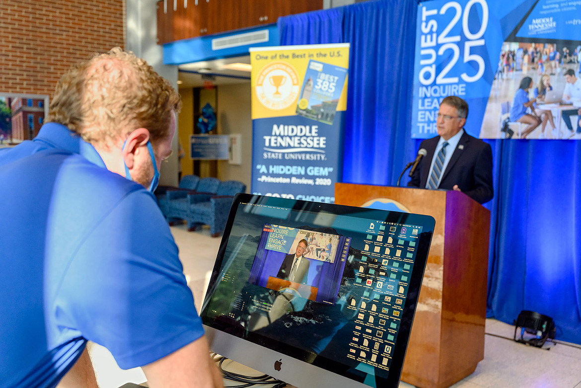 MTSU Provost Mark Byrnes discusses the goals of the Quest 2025 initiative announced via livestream Wednesday, Oct. 21, from the lobby of the Cope Administration Building. (MTSU photo by J. Intintoli)