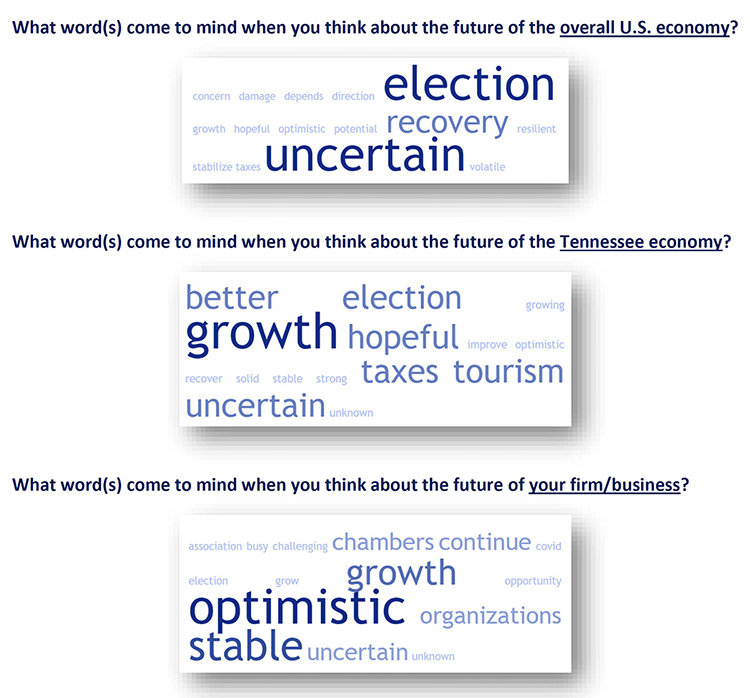 This word cloud shows the words most often given by respondents to the October Tennessee Business Barometer survey when asked to report the word, or words, that came to mind when thinking about the future of the U.S. economy, Tennessee economy and their businesses or firms. (Courtesy of the MTSU Office of Consumer Research)