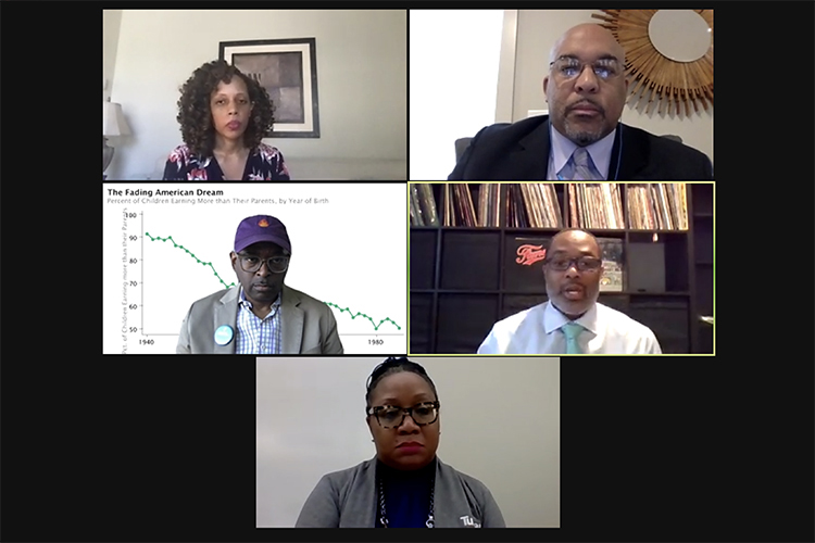 "MTSU history professor Dr. Louis Woods, top right, recently participated in a webinar hosted by Paylocity titled ""Why is the Conversation about Race so important in Today's Society? Episode 1."" Other panelists included, top left, Dr. GiShawn Mance, assistant professor of Psychology at Howard University; center left, Michael A. DeVaul, national strategy leader for the Boys and Young Men of Color; bottom, Pamyla Fountain Brown, community and citizenship director at Turner Construction Co. ; and center right, moderator Darnell Burtin of The Burtin Group, which co-hosted the webinar. (YouTube screen capture)"
