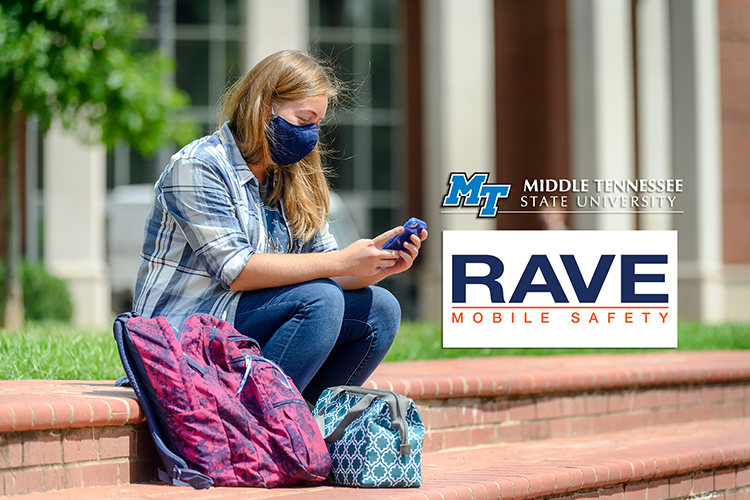 MTSU student Taylor Lane checks her phone while taking a break on the first day of fall 2020 classes on campus in this August file photo. MTSU will provide a test alert for all its students, faculty and staff via email, calls and texts Wednesday, Oct. 28, at 1:15 p.m. during the fall 2020 test of the university's Critical Notification System, run by Rave Mobile Safety. (MTSU file photo by J. Intintoli)