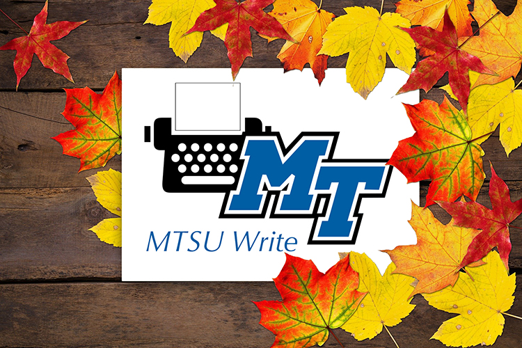 "promo image of colorful autumn leaves on a wooden plank wall or floor with the ""MTSU Write"" program logo slightly off-center. (Image by Stux/Pixabay)"