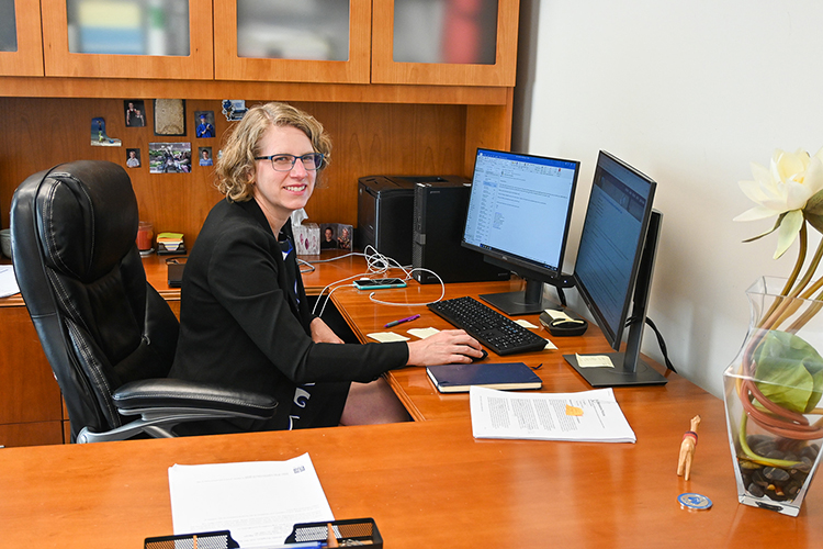 Dawn McCormack, associate dean of the MTSU College of Graduate Studies, works in her office in the Sam Ingram Building on Oct. 15, 2020. (MTSU photo by Stephanie Barrette)