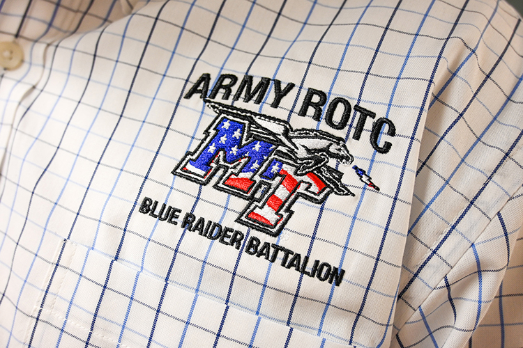 A close-up of the MTSU Army ROTC logo on Marty Hill's shirt taken on Sept. 23, 2020. (MTSU photo by Stephanie Barrette)