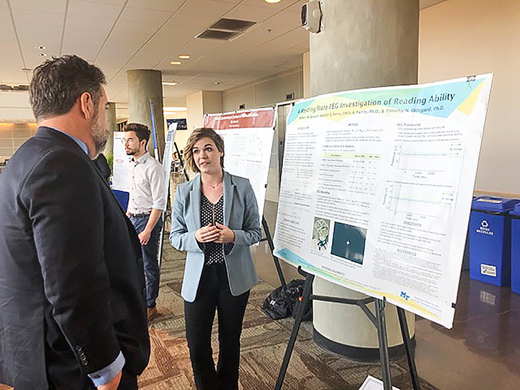 Robyn Sessler presents her research at the 2019 Undergraduate Research Center Fall Open House on Nov. 15, 2019 at MTSU. (MTSU photo by Jamie Burriss)