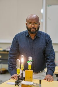 Daniel Erenso, Physics & Astronomy faculty, in Wiser-Patten Science Hall. (Photo: Andy Heidt)