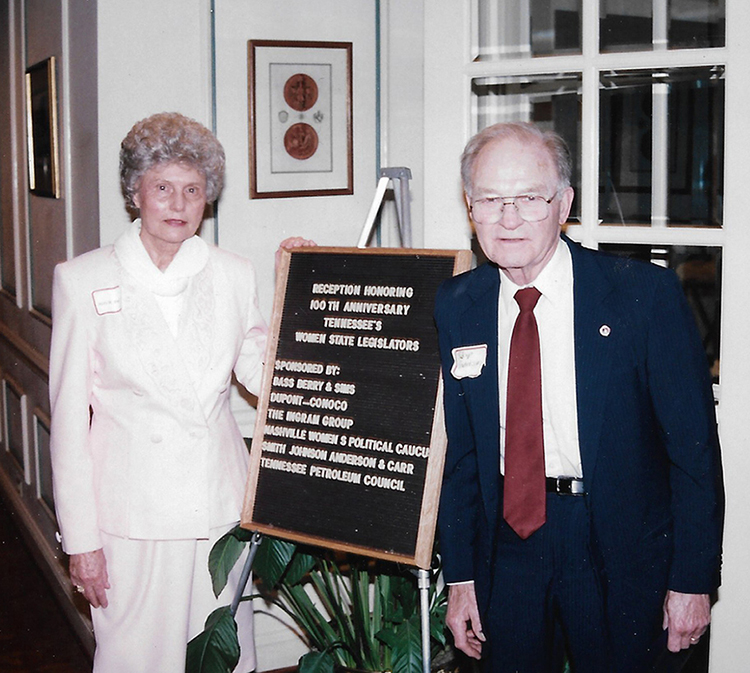 MTSU alumna Mary Anderson and her husband, Kenneth Anderson, attended a reception honoring the 100th anniversary of women legislators in the Tennessee General Assembly in Nashville in 1996. (Photo submitted)