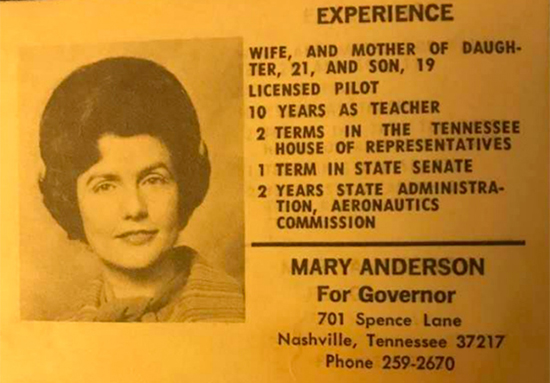 This campaign card promoted MTSU alumna Mary Anderson's unsuccessful bid for the Democratic nomination for governor in 1970. (Photo submitted).