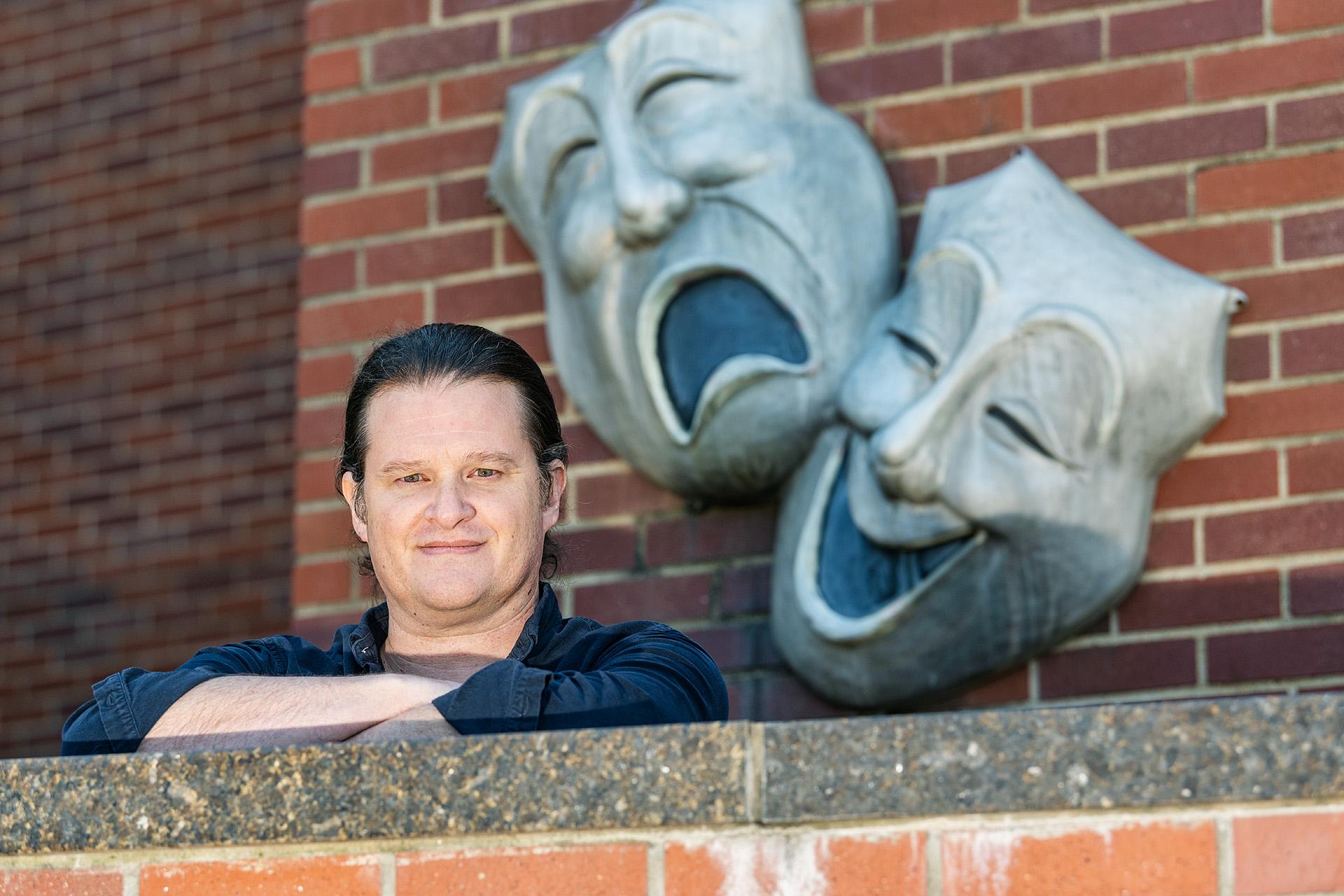 David Wilkerson, Theatre & Dance faculty in and around Tucker Theatre.