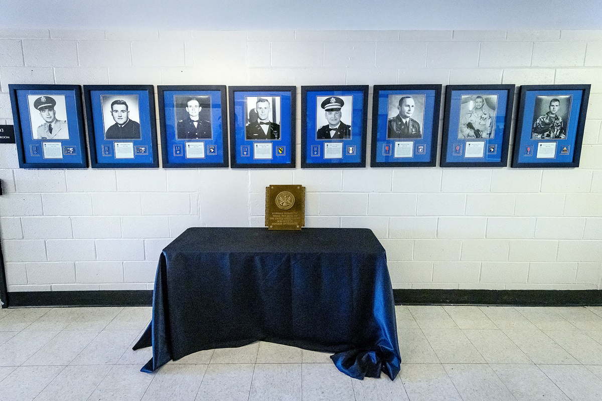 Eight former MTSU ROTC cadets who died in combat while serving their country will be recognized with special shadowboxes from 12:30 to 2:30 p.m. at the Veterans Memorial outside the Tom H. Jackson Building, 628 Alma Mater Drive, as part of 39th annual Salute to Veterans and Armed Services game events. This year marks the 70th year of the Military Science program, and the public is welcome to pay their respects at the memorial site. MTSU will play Charlotte at 2:30 p.m. in Floyd Stadium. (MTSU photo by J. Intintoli)