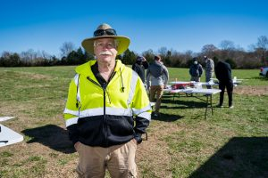 Kevin Corns, Aerospace faculty, with students flying their Unmanned Aerial System aircraft at the MTSU Farm. (Photo: Andy Heidt)