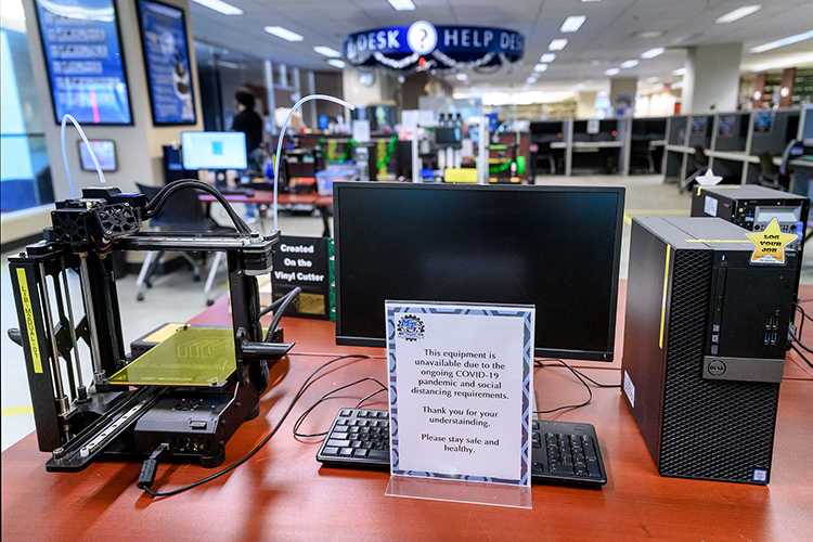 While most equipment and services in the James E. Walker Library's Makerspace remain available despite COVID-19 protocol restrictions, some devices are off limits for the time being as a safety precaution. (MTSU Photo by J. Intintoli)