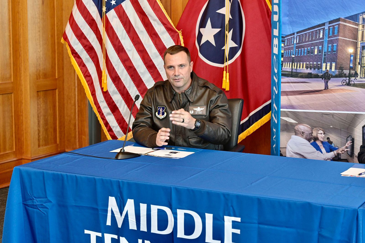 """118th Wing Commander Col. Todd A. Wiles, whose 15th and current military assignment began in November 2019, said the unit was """"looking forward to doors opening"""" through this new partnership with MTSU. The two parties signed an MOU agreement Tuesday, Nov. 3, in the Student Union Building's President's Executive Conference Room. (MTSU file photo by Andy Heidt)"""