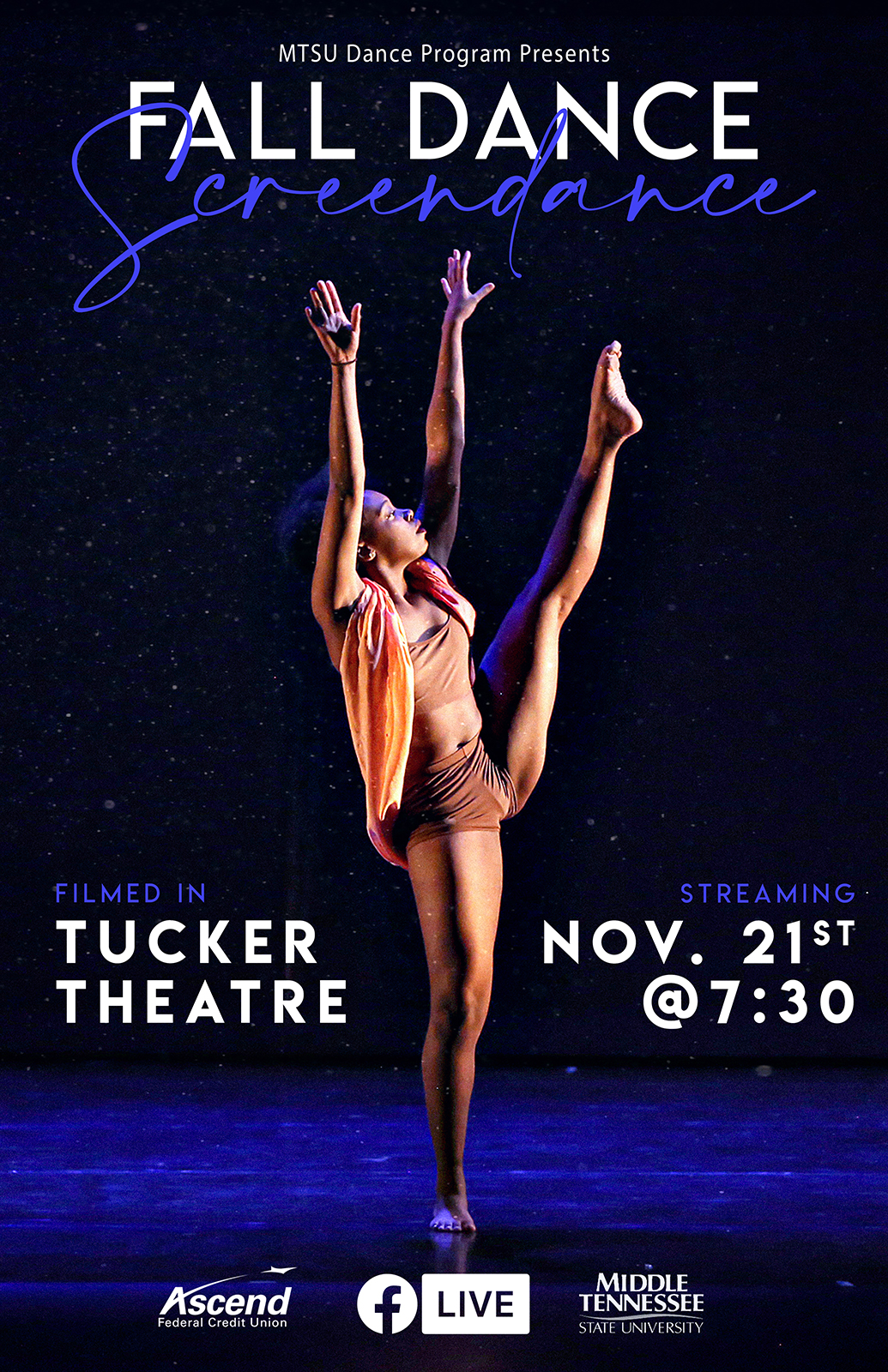MTSU senior dance major Jordyn Hill of Knoxville, Tennessee, reaches skyward on the Tucker Theatre stage during the 2019 Fall Dance Concert in this poster for the 2020 Fall Dance Concert. The MTSU Dance Theatre will present its 2020 Fall Dance Concert Saturday, Nov. 21, via video at the program's Facebook page: https://www.facebook.com/mtsu.dance. (Photo by Martin O'Connor)