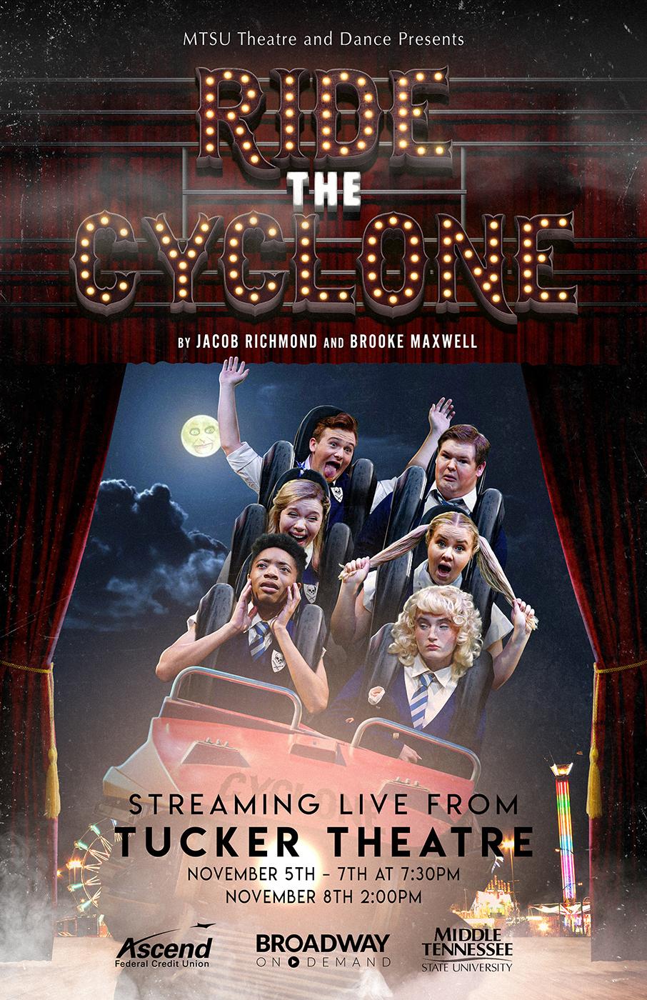 """MTSU Theatre """"Ride the Cyclone"""" poster for Nov. 5-8. 2020. production in Tucker Theatre"""