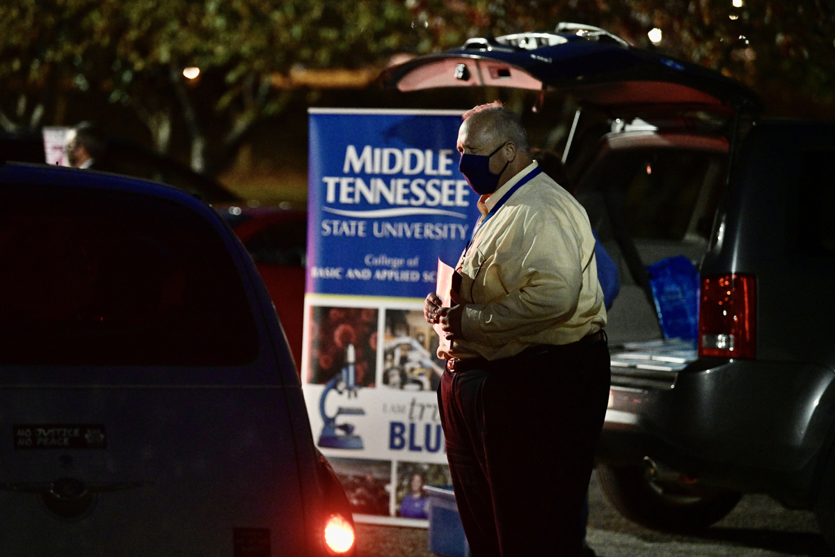 MTSU College of Basic and Applied Sciences Dean Bud Fischer answers questions and provides information about his college for prospective students and their families attending the Drive-Thru College Fair Thursday, Nov. 5, in the Rutherford Parking Lot. (MTSU photo by Andy Heidt)