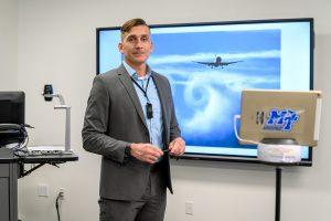 Nate Callender, PhD, Aerospace Faculty Profile at the Murfreesboro airport. (Photo: J. Intintoli)