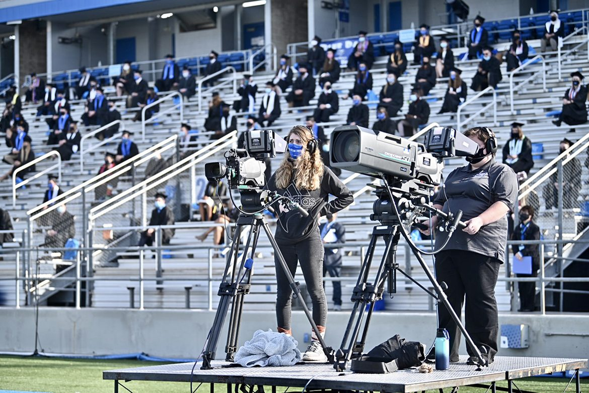 Students from the College of Media and Entertainment's Department of Media Arts, as well as students working for the university's Production Services team, produced True Blue TV's live coverage of the Nov. 21 Fall 2020 commencement ceremonies at Floyd Stadium. The three ceremonies will re-air for 24 hours on Saturday, Nov. 28, on True Blue TV. (MTSU photo by J. Intintoli)