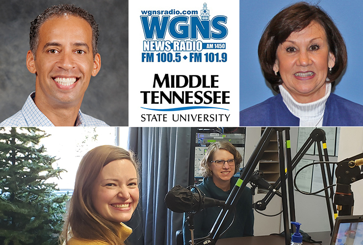 "MTSU faculty and staff appeared on WGNS Radio's ""Action Line"" program with host Scott Walker. Pictured are Dr. Vincent Windrow, top left, associate vice provost for Student Success, and Bobbi Lussier, top right, executive director of professional laboratory experiences in the MTSU College of Education, both interviewed by phone. At bottom, from left, are Sarah Hendrix, strategic communications manager for the College of Graduate Studies; and Dr. Dawn McCormack, associate dean of the college, who were interviewed in studio. (MTSU photo illustration)"